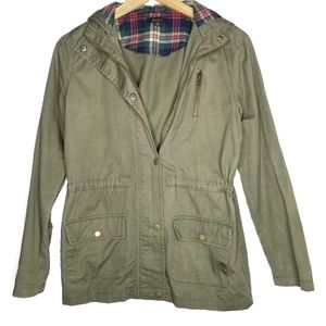 Mine Olive Plaid Utility Jacket Size Small